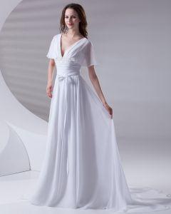 V Cou De Ruche De Longueur De Plancher En Mousseline De Soie Robe De Femme De Mariée Empire