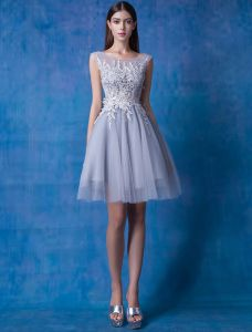 2016 Beautiful Scoop Neckline Backless Applique Lace Tulle Party Dress