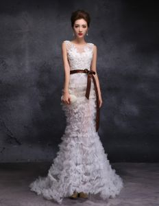 2015 Trumpet / Mermaid Scoop Neck Floor-length Long Pierced Tulle Wedding Dress With Sequins