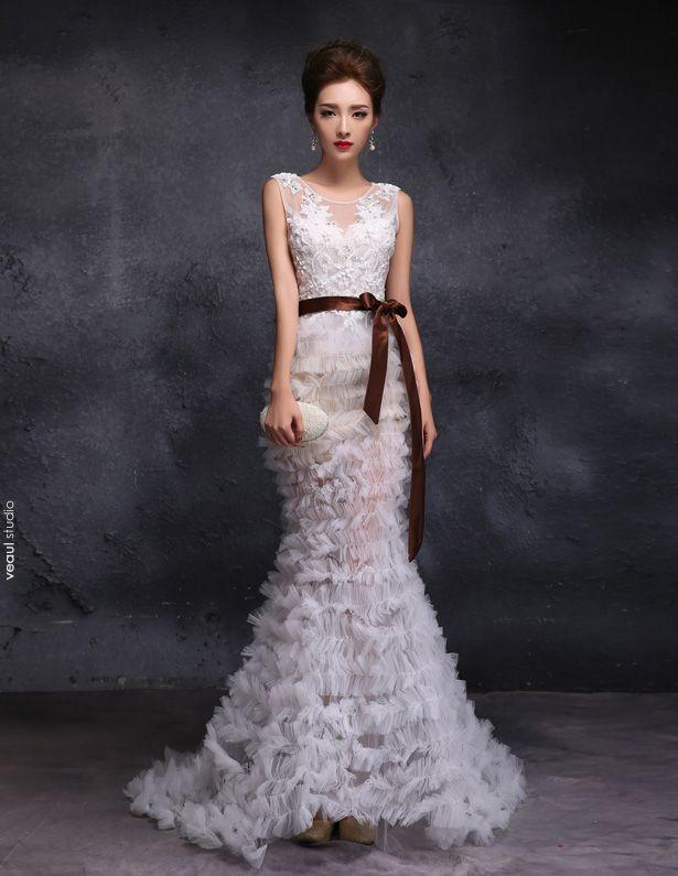 2015 Trumpet / Mermaid Scoop Neck Floor-length Long Pierced Tulle Wedding Dress With Sequins