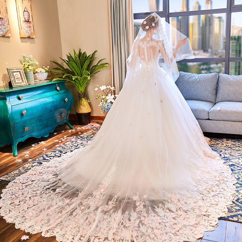 Glamorous Ivory See-through Wedding Dresses 2019 A-Line / Princess Scoop Neck 3/4 Sleeve Beading Appliques Lace Flower Chapel Train Ruffle