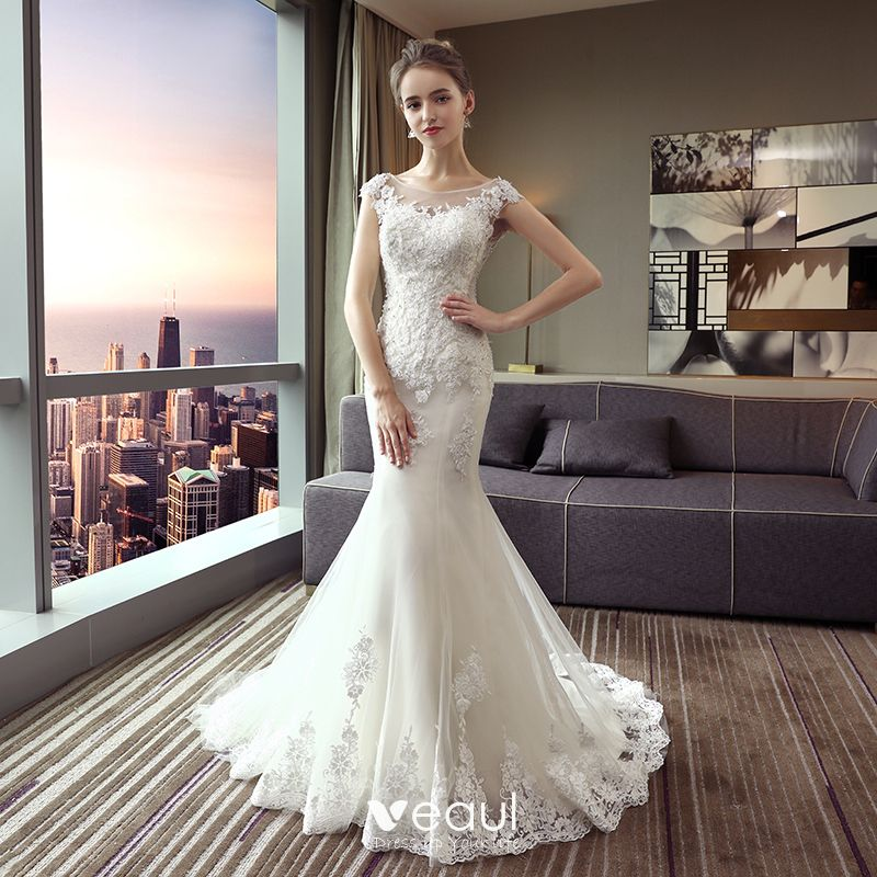 Chic / Beautiful White Wedding Dresses 2017 Trumpet / Mermaid Lace U-Neck Backless Crystal Rhinestone Wedding