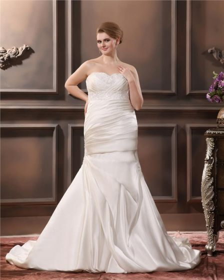 Satin Sweetheart Applique Beading Sheath Sweep Plus Size Wedding Dresses