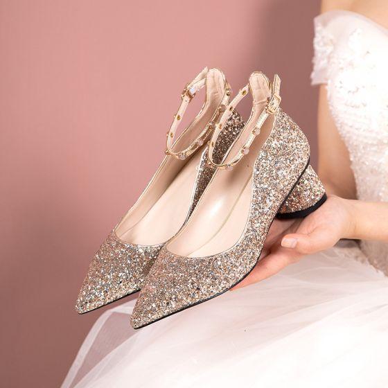 Brillante Oro Rosa Zapatos de novia 2019 Lentejuelas Correa Del Tobillo 5 cm Stilettos / Tacones De Aguja Punta Estrecha Boda Tacones
