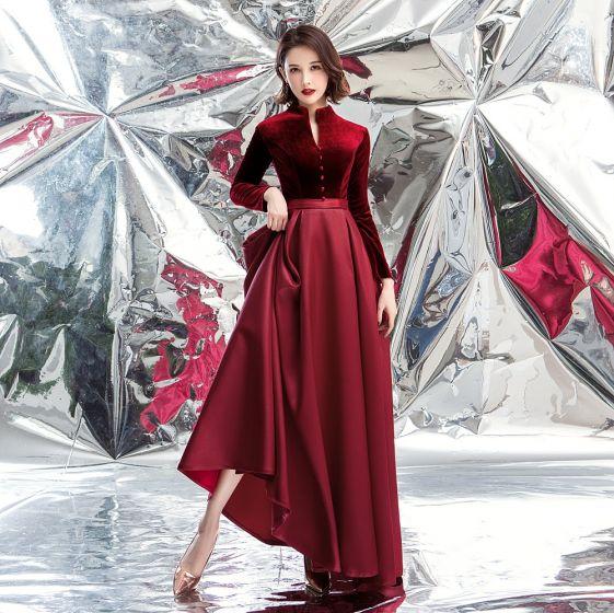 Elegant Burgundy Suede Prom Dresses 2020 A-Line / Princess High Neck Long Sleeve Floor-Length / Long Formal Dresses