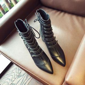 Mode Freizeit Schwarz Stiefel Damen 2019 Leder 6 cm Thick Heels Spitzschuh Stiefel
