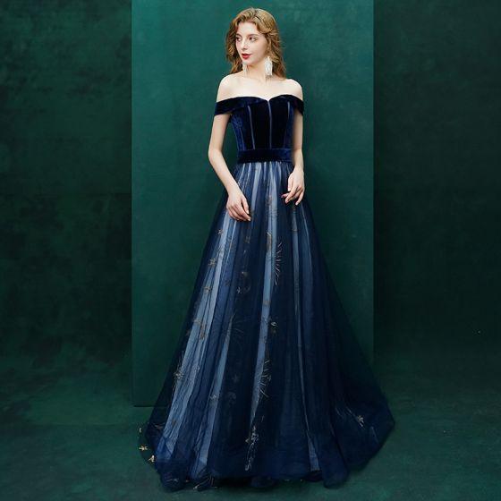 93942ccc206 Sexy Bleu Marine Robe De Soirée 2019 Princesse Daim Étoile De l épaule Dos  Nu Manches ...