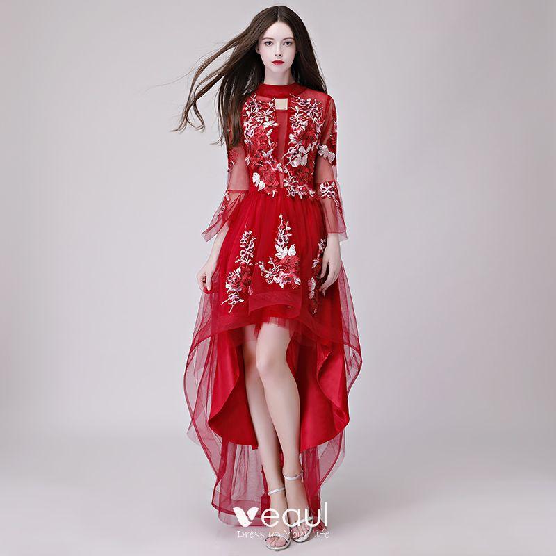 Wysoka Niska Szary Przezroczyste Lato Sukienki Koktajlowe 2018 Princessa Wysokiej Szyi Długie Rękawy Aplikacje Z Koronki Asymetryczny Wzburzyć