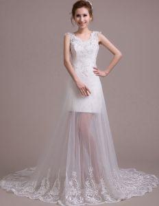 2015 Braut Gericht Zug Schulter Gurten Halter V-ansatz Weiße Spitze Brautkleider kurz