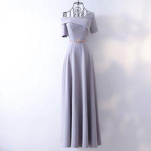 Elegante Silber Abendkleider 2017 A Linie Metall Stoffgürtel One-Shoulder Rückenfreies Kurze Ärmel Knöchellänge Abend