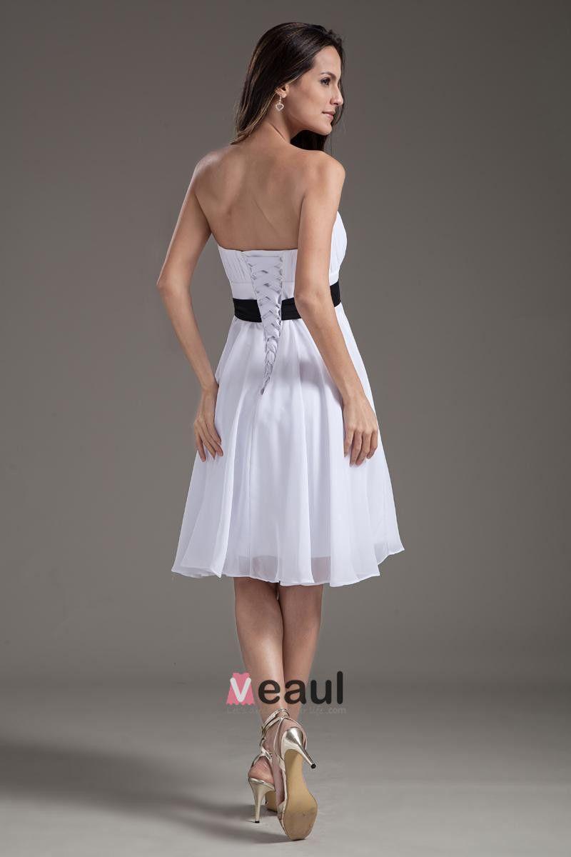 Fashion Strapless Knee Length Chiffon Bridesmaids Dresses