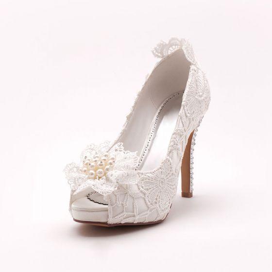 Lace Wedding Shoes.White Fish Head Lace Bridal Shoes Wedding Shoes Woman Shoes