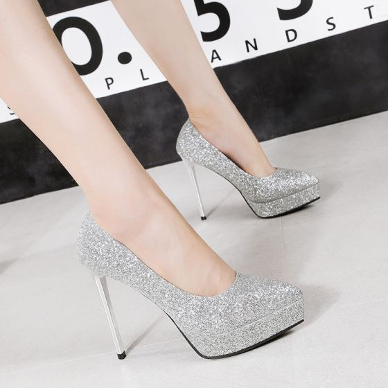 Affordable Silver Evening Party Pumps 2020 Sequins 12 cm Stiletto Heels Pointed Toe Pumps