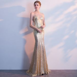 Sparkly Gold Evening Dresses  2018 Trumpet / Mermaid Sequins Spaghetti Straps Backless Sleeveless Sweep Train Formal Dresses