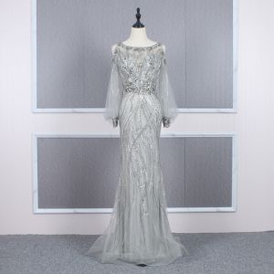High-end Grey See-through Evening Dresses  2020 Trumpet / Mermaid Scoop Neck Puffy Long Sleeve Beading Sweep Train Ruffle Formal Dresses