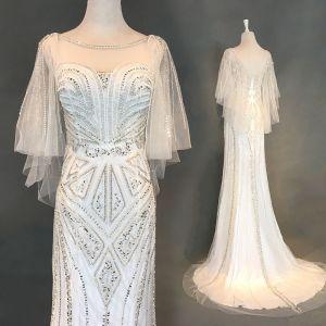 Luxury / Gorgeous Ivory Evening Dresses  2018 Trumpet / Mermaid Beading Pearl Rhinestone Sequins Scoop Neck Backless 3/4 Sleeve Sweep Train Formal Dresses