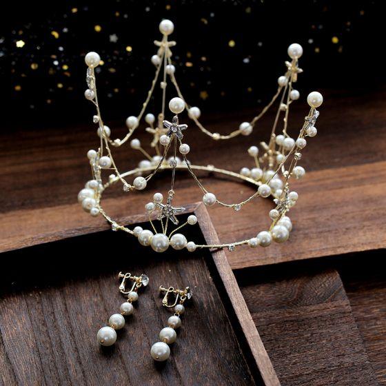 Piękne Złote Biżuteria Ślubna 2019 Stop Perła Rhinestone Tiara Kolczyki Ślub Akcesoria
