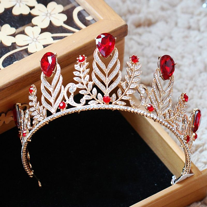 Chic / Beautiful Red Bridal Jewelry 2017 Metal Beading Crystal Rhinestone Headpieces Wedding Prom Accessories