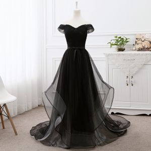 Elegant Black Prom Dresses 2019 A-Line / Princess Off-The-Shoulder Short Sleeve Backless Bow Court Train Formal Dresses