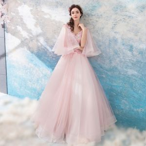 Mooie / Prachtige Parel Roze Galajurken 2018 A lijn Lange V-Hals Tule Appliques Ruglooze Kralen Gala Gelegenheid Jurken