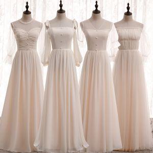 Affordable Champagne Chiffon Bridesmaid Dresses 2020 A-Line / Princess Puffy Sleeveless Floor-Length / Long Ruffle