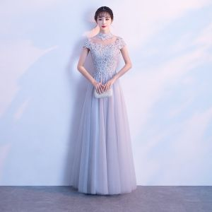 Chinese style Grey Evening Dresses  2018 A-Line / Princess Lace Appliques Beading High Neck Short Sleeve Floor-Length / Long Formal Dresses