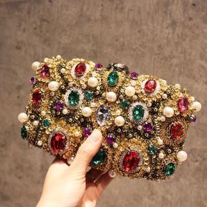 Mode Multifarben Perle Strass Perlenstickerei Clutch Tasche 2019