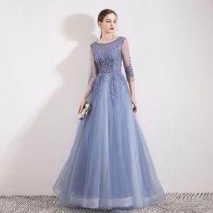 Chic / Belle Bleu Ciel Robe De Soirée 2019 Princesse Encolure Dégagée Perlage Paillettes En Dentelle Fleur 3/4 Manches Longue Robe De Ceremonie