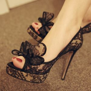 Modern / Fashion Black Summer Womens Shoes 2018 Polyester Lace Bow 10 cm Stiletto Heels Open / Peep Toe High Heels