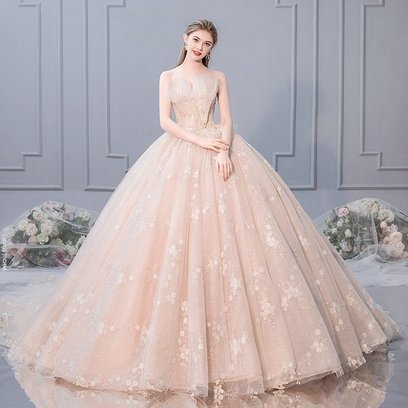 Luxury / Gorgeous Champagne Wedding Dresses 2019 Ball Gown Strapless Rhinestone Pearl Lace Flower Sequins Sleeveless Backless Royal Train