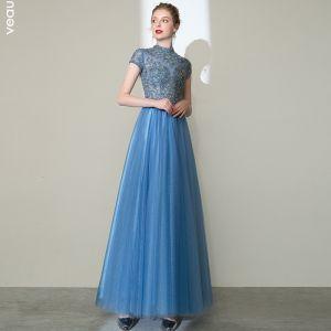Elegant Pool Blue Prom Dresses 2020 A-Line / Princess High Neck Beading Rhinestone Short Sleeve Backless Floor-Length / Long Formal Dresses