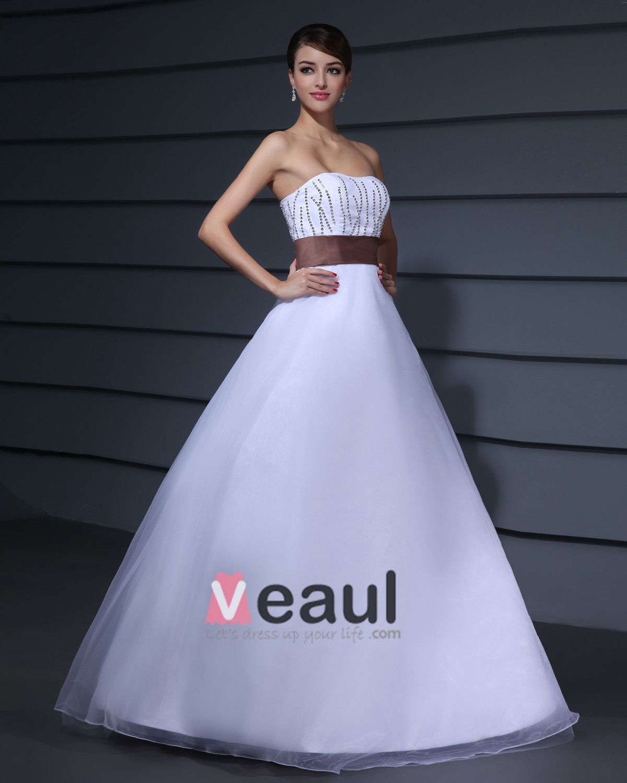 Designer Romantic Strapless Ball Gown Tulle Taffeta Prom Dresses
