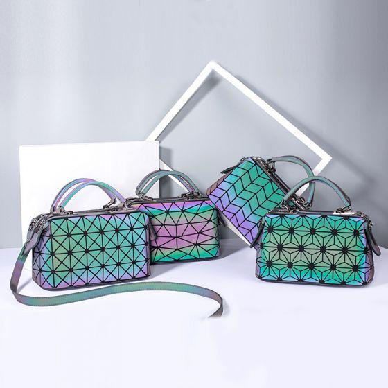 Unieke Multi-Kleuren Lichtgevend Geometrische Vierkante Handtas Koerierstas 2021 PU Reflecterend Holografisch Toevallig Dames Tassen