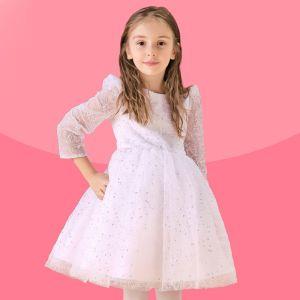 Blanc A Manches Longues Robe Fleur Fille Princesse Robe