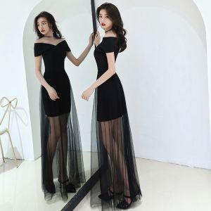 Modest / Simple Affordable Black Summer Evening Dresses  2019 A-Line / Princess Off-The-Shoulder Short Sleeve Floor-Length / Long Backless Formal Dresses
