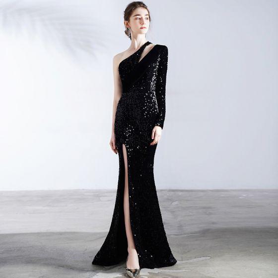 Błyszczące Czarne Sukienki Wieczorowe 2020 Syrena / Rozkloszowane Jedno Ramię Długie Rękawy Podział Przodu Trenem Sweep Bez Pleców Sukienki Wizytowe