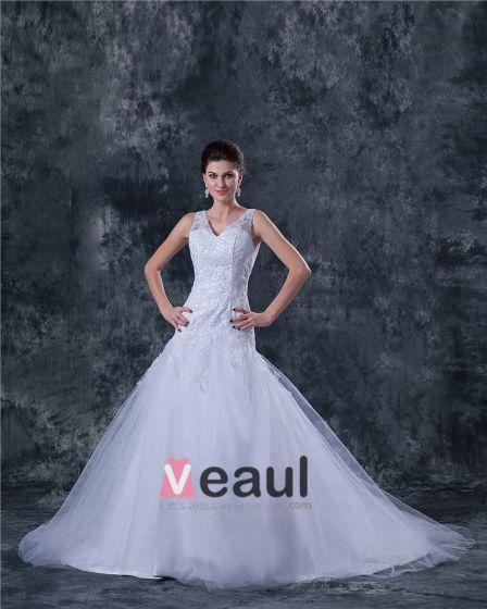 Tyll V-ringad Beading Sopa A-line Brudklänningar Bröllopsklänningar