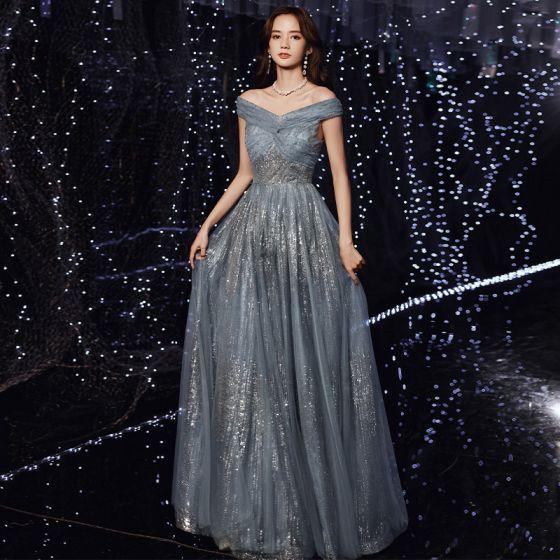 Encantador Océano Azul Vestidos de noche 2021 A-Line / Princess Fuera Del Hombro Glitter Lentejuelas Sin Mangas Sin Espalda Largos Noche Vestidos Formales