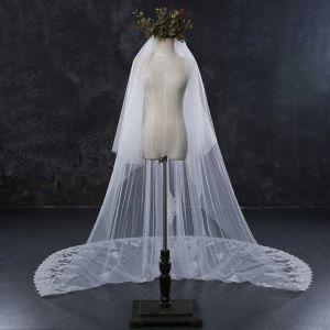 Schöne Weiß Brautschleier 2017 Spitze Tülle Applikationen Stickerei Hochzeit