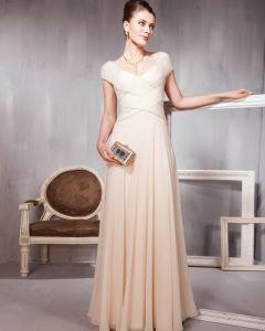 Perles Volants Tulle De Coton V Cou Etage Robes De Soirée De Longueur