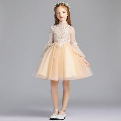 Chic / Beautiful Champagne Flower Girl Dresses 2019 A-Line / Princess High Neck Long Sleeve Appliques Lace Short Ruffle Wedding Party Dresses