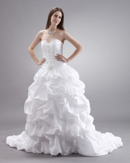 Ruffles Layered Sweetheart Embroidery Chapel Bridal Ball Gown Wedding Dress
