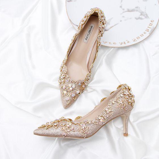 Charmig Guld Glittriga / Glitter Brudskor 2020 Läder Rhinestone Paljetter 9 cm Stilettklackar Spetsiga Bröllop Pumps