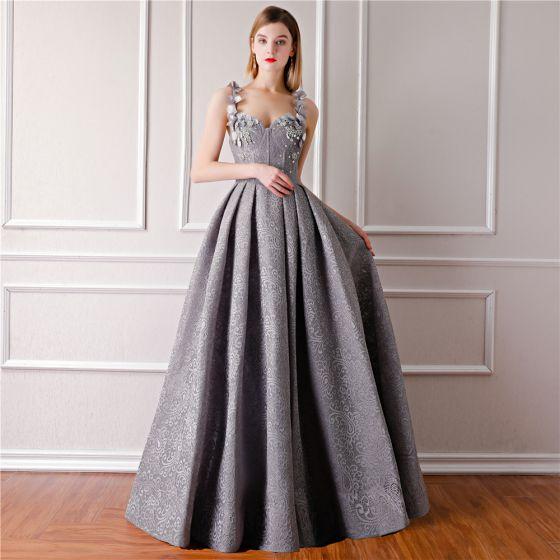 Stylowe Modne Szary Sukienki Wieczorowe 2019 Princessa Bez Rękawów