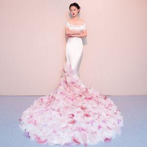 Elegante Ivory / Creme Brautkleider 2018 Mermaid Blumen Schleife Eckiger Ausschnitt Rückenfreies Kurze Ärmel Kapelle-Schleppe Hochzeit