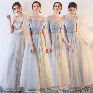 Abordable Gris Robe Demoiselle D'honneur 2019 Princesse Appliques En Dentelle Métal Ceinture Longue Volants Robe Pour Mariage