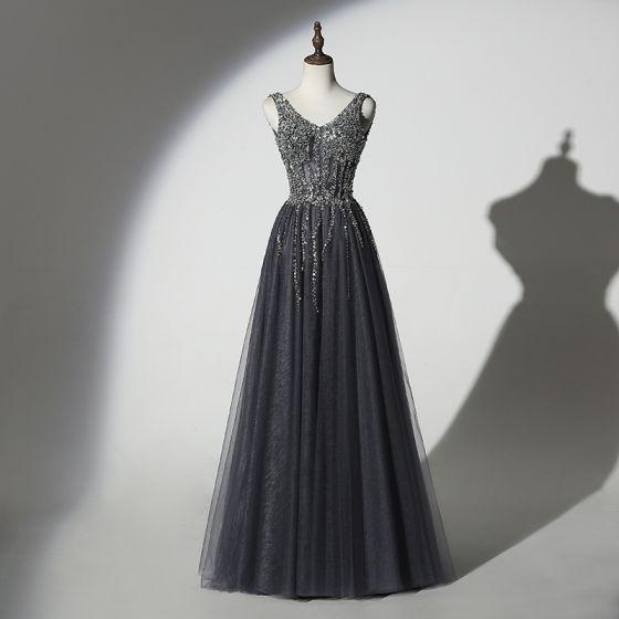 Błyszczące Szary Czarne Sukienki Wieczorowe 2019 Princessa V-Szyja Wykonany Ręcznie Frezowanie Cekiny Bez Rękawów Bez Pleców Długie Sukienki Wizytowe