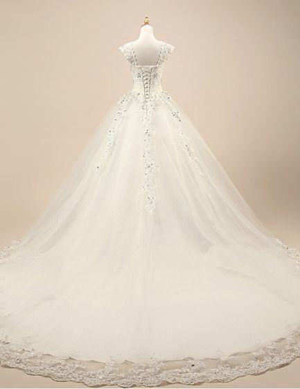 Lyx Brudklänning Spets Axlar Kristall Bröllopsklänning