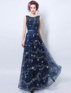 Sparkly Abendkleider 2017 Schaufelausschnitt Marineblau Tulle Langes Kleid