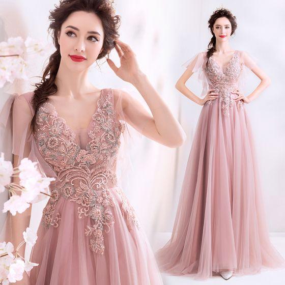 Elegant Perle Rosa Ballkjoler 2019 Prinsesse Beading Perle Blonder Blomst V-Hals Korte Ermer Ryggløse Lange Formelle Kjoler